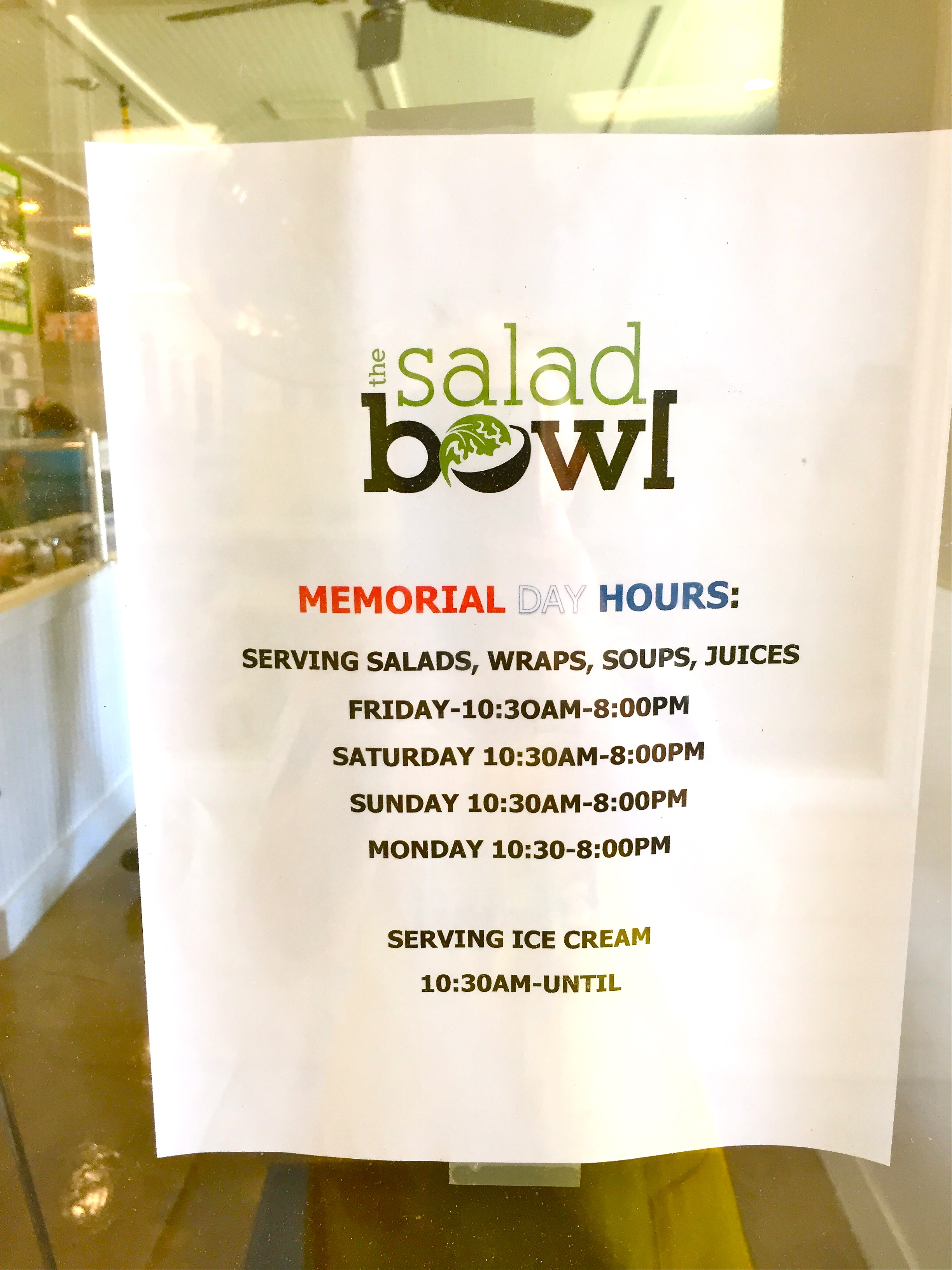 Memorial Day Holiday Hours The Salad Bowl